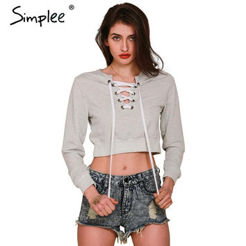 Simplee Apparel Autumn chic lace up sweatshirt Women tops v neck ladies sweatshirt warm hoodies Gray crop top long sleeve girls