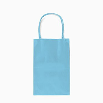 12CT SMALL LIGHT BLUE BIODEGRADABLE, FOOD SAFE INK & PAPER, PREMIUM QUALITY PAPER (STURDY & THICKER), KRAFT BAG WITH COLORED STURDY HANDLE