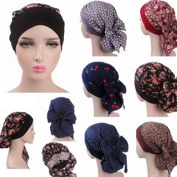 Cancer Chemo Cap Floral Dot Elastic Soft Head scarf Wrap Hair Loss One Size Adult Turban Cover