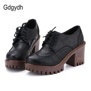 ONETOW Gdgydh Lace Up Women Shoes Pumps 2017 New Spring Round Toe Female Casual Square High H