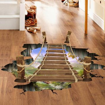 3D Hanging Wooden Bridge Floor Wall Decals Stickers Art Home Room Vinyl Decor UK