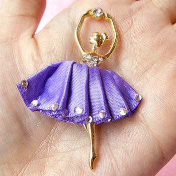 Ballerina Metal Cabochon Ballet Dancer Charm (Purple) w/ Clear Rhinestones (38mm x 58mm) Cell Phone Deco Scrapbooking Decoden CAB104