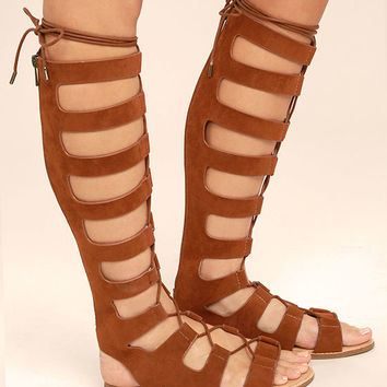 Hasna Chestnut Brown Suede Tall Gladiator Sandals