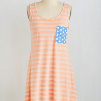Mid-length Sleeveless Mix It Up Dress in Peach