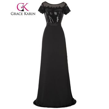 Grace Karin Black Long Prom Gowns Real Picture Short Sleeve Sequined Formal Robe De Soiree Longue Lace Party Prom Dresses 2017