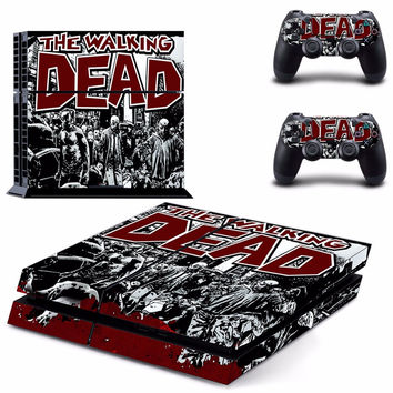 Walking Dead PS4 Playstation 4 Skins Decal Vinyl Sticker Gamer Gaming Cover Console and 2 Controllers