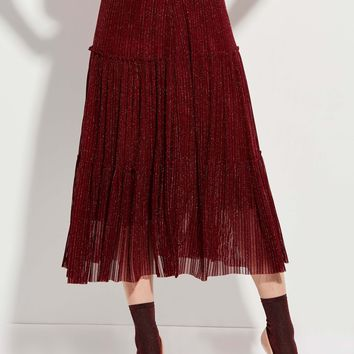 clocolor Mid-Waist Ankle-Length Mottled Pleated Skirt