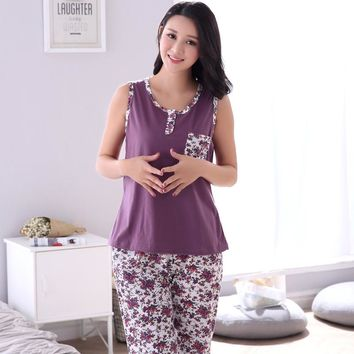 Plus Size M-4XL 100% Cotton Women Pajamas Set Small Floral Sleepwear Vest Casual Tracksuit 2 piece Sexy Summer Home Lounge Gift