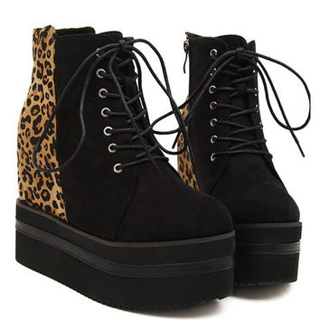 Black Leopard Printed Lace Up Boots with Platform Design