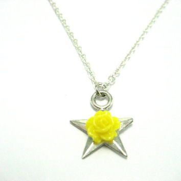 Yellow Rose of Texas Necklace , Lone Star State Pride Necklace , Yellow Rose Jewelry , Texas Necklace ,Texas Jewelry  Small Yellow Rose