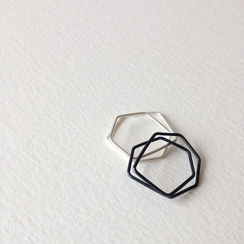Sterling Silver Stack Rings, Two Geometric Rings, Black and White Rings