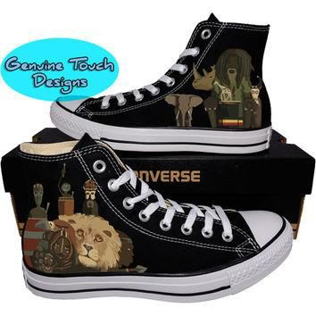 Custom Converse, African Tribal shoes, Tribal shoes, Custom chucks, painted shoes, per