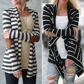 Womens Long Sleeve Striped Cardigan Sweater Coat Jacket
