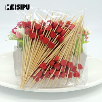 WEISIPU 100Pcs/bag New 12cm Bamboo Heart Food Picks Fruit Fork Sticks Buffet Cupcake Toppers Cocktail Wedding Party Decoration