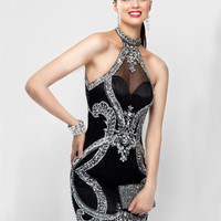 Tcmldr Sexy Halter Gorgeous Crystal Beading Knee-Length Mermaid Cocktail Dresses Glamorous Open Back Black Party Dress Plus Size