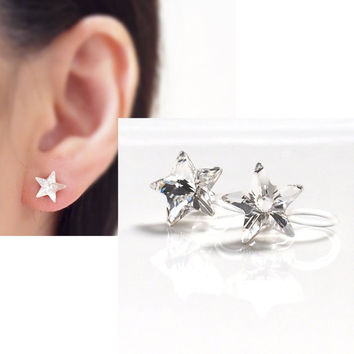 Pierced Look! 2 ways Shooting Stars Clear Swarovski Crystal Invisible Clip on Earrings, Bridal Clip On Earrings, Non Pierced Earrings