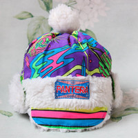80's Neon Trapper Hat / Vintage PANTERA Purple Space Print Cotton & Faux Fur Children's Hat / Cool Hipster Pom Pom Astronaut Winter Ski Hat
