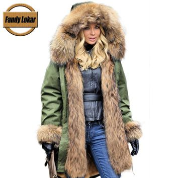 Fandy Lokar Fur Parka Winter Women Jacket Warm Long Military Parka Real Real Rex Rabbit Fur Lining Hood Coat Genuine Raccoon Fur