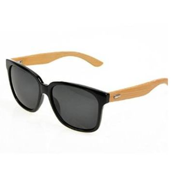 Unisex Bamboo Wood Black Sunglasses with Polarized Lenses