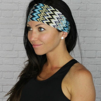 SALE! Chevron Yoga headband - FLAWLESS by Manda Bees - No Slip Fitness Moisture Wicking Wide Workout Stretchy Headband