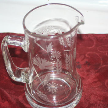 Vintage Etched Glass Pitcher, Vintage Pitcher, Home Decor