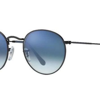 PEAP2Q ray ban aviator rb3447 round sunglasses 006 3f black with blue gradient lens