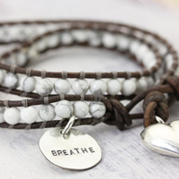 Howlite Gemstone 2 Wrap Bracelet with Sterling Silver Heart and Personalized Hand Stamped Pendant Christina Guenther