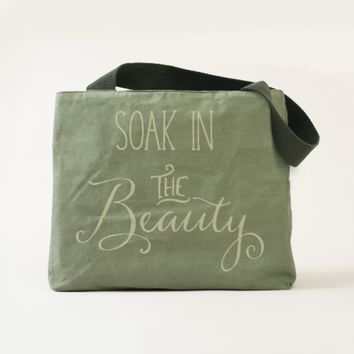 Soak in the Beauty Typography in Faded White Tote