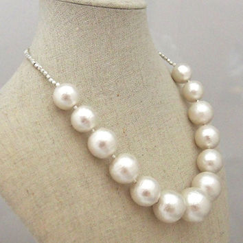 Cloud: A Classy Gorgeous Gradation Large Cotton Pearl Necklace with silver beads, Wedding,Bridesmaid and Bridal Necklace, Chic and Elegant