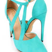 Seagreen Single Sole Strappy Heels Faux Leather