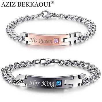 """Drop Shipping Unique Gift for Lover """"His Queen""""""""Her King """" Couple Bracelets Stainless Steel Bracelets For Women Men Jewelry"""