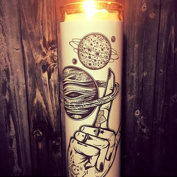 Galaxy Art, Space, Planets, Flash Tattoo Art, Tattoo Art, Solar system, Hipster, Home Decor,  Scented  Candle, Prayer Candle, Gift Idea,