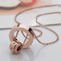 Pure 316l titanium stainless steel crystal pendant necklace luxury choker chain women men couple brand yellow/rose/white gold