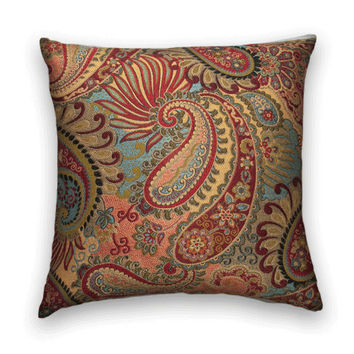 Beautiful Woven Decorative Pillow--15x15 Throw Pillow--Paisley and Flowers--Red, Turquoise, Gold