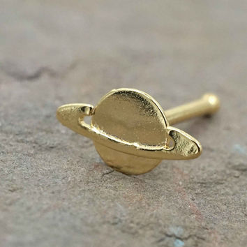 Gold Saturn Planet Nose Bone Nose Stud