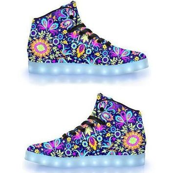 Floral Trip - App Controlled High Top LED Shoes