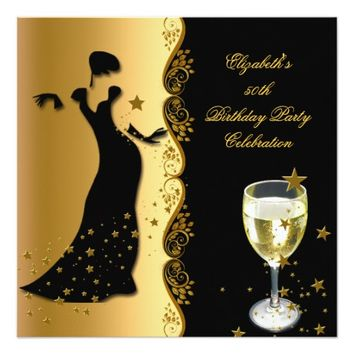 "Elegant Lady 50th Birthday Party Gold Black Wine 5.25"" Square Invitation Card"