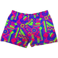Printed Spandex Sport Shorts - Neon Aztec - 2.5