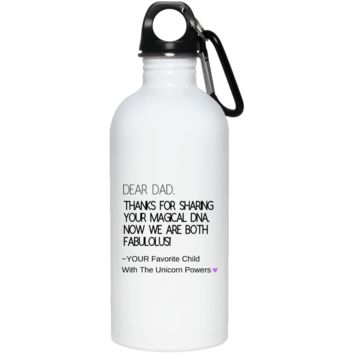 Funny Father's Day Gift For Dad From Wife, Daughter, Son, Stepdaughter, Stepson, Mom, Grandma, Mother In Law (9 dna unicorn dad 23663 20 oz. Stainless Steel Water Bottle)