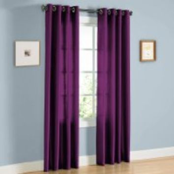 "HLC.ME Pair of Purple Faux Silk Grommet Curtain Panels - 58"" by 84"" Inch"