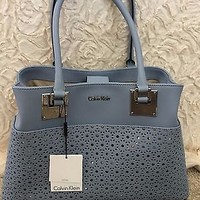 NWT Calvin Klein Cutout Robins Egg Blue Leather Purse