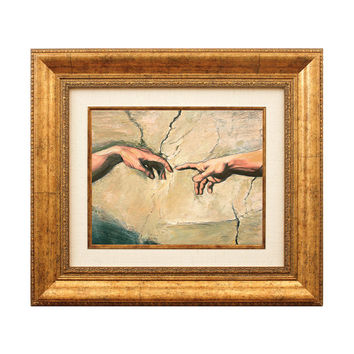 Oil Painting FRAMED Wall Art Miniature - Creation of Adam by Michelangelo Sistine Ceiling Fragment