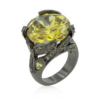 Hematite Yellow Stone Cocktail Ring, size : 06
