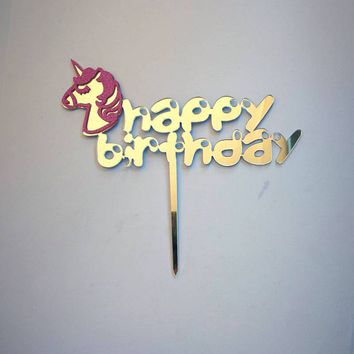 Acrylic Unicorn Party Cake Topper  Rainbow Happy Birthday Cake Toppers Decoration Cupcake For Wedding Birthday Party Supplies