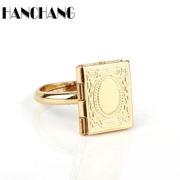 HANCHANG Beauty and Beast Jewelry Rings Magic Book Shaped Finger Rings for Women Men Spinner ring Adjustable Accessories
