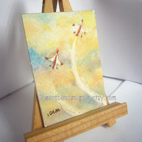 Take Flight human version, original aceo peinture, sky, f16 planes, watercolor painting, landscape, wall art id1360755, not a print, gift