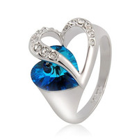 Rigant 18K RGP Heart Design Ring 9# (White Gold)