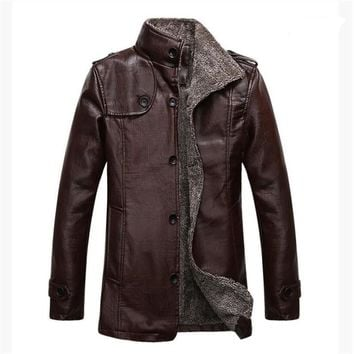 New Winter Motorcycle Leather Jacket Men Long Trench Autumn Bomber Casual Thick Warm Faux Leather Fur Coat jaqueta de couro 4XL