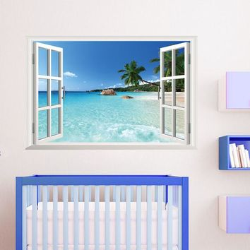 Beach resort 3D Window View Removable Wall Sticker Vinyl Decal Mural home decoration accessories