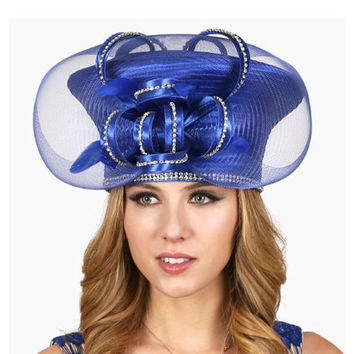 Kentucky Derby Church Wedding Party Blue Satin Mushroom Mesh Hat with Loopy Crystal Stones